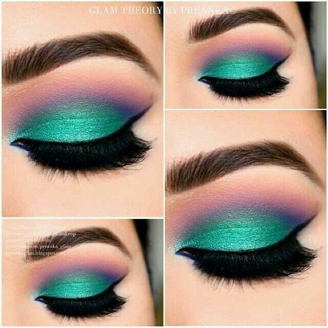 Maquillaje de ojos para vestido verde menta