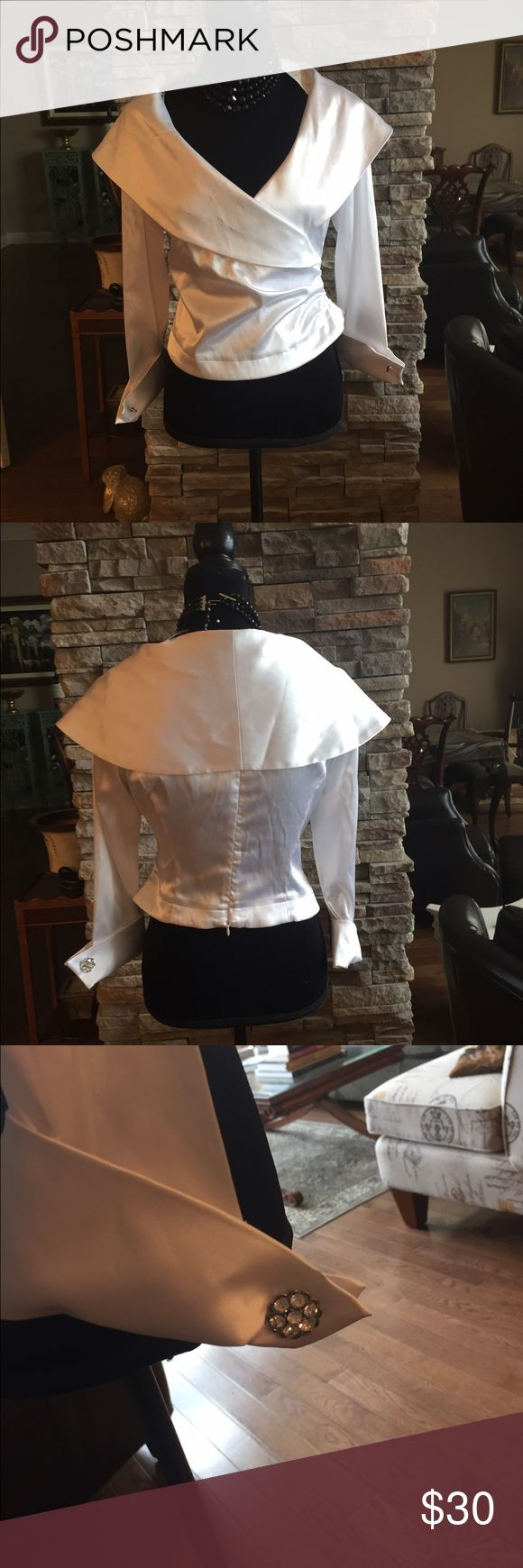 Harris Wallace white evening blouse Harris Wallace white evening blouse with wide fold-over collar, back zipper, wide cuffed sleeves with rhinestone cuff links.  New with tags.  It doesn't fit me, so just trying to get close to what I paid., p4 Harris Wallace Tops Blouses