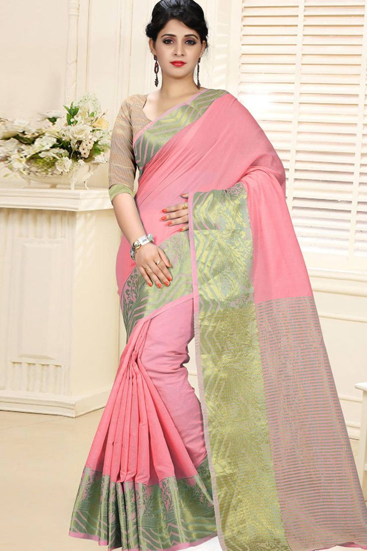 Peach Cotton Silk Saree With UnStitch Blouse