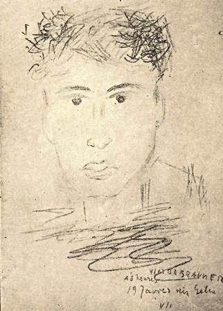 Victor Brauner - Frontispiece. Naum's portrait. From Gellu Naum, Culoarul somnului. Cu un desen de Victor Brauner. (Bucharest, 1944). YA.2000.a.8782.