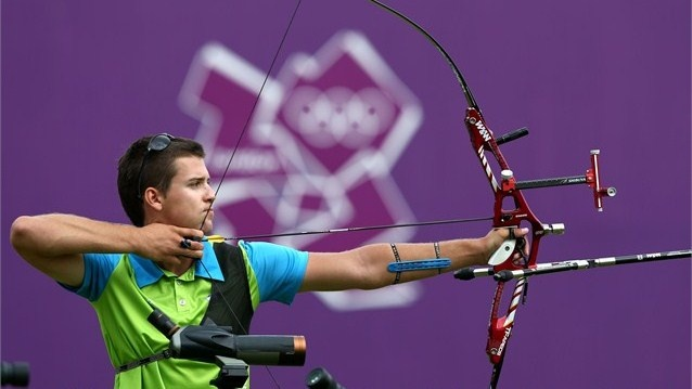 Klemen Strajhar of Slovenia competesduring the Archery men's individual ranking roundas part of the London 2012 Olympic Games atLord's Cricket Ground on 27 July2012.