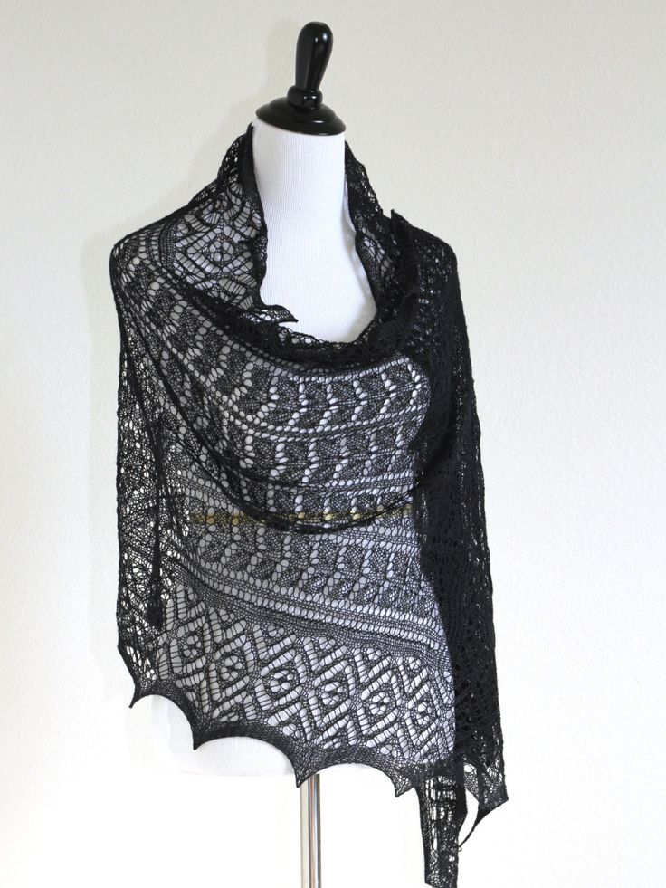 This hand knit #shawl / #stole is made of 50% merino wool/50% silk in an…