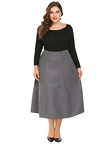 c483be6c065 Zeagoo Womens Plus Size Warm High Waist Flared A Line Swing Maxi Wool Skirt  For Party Casual