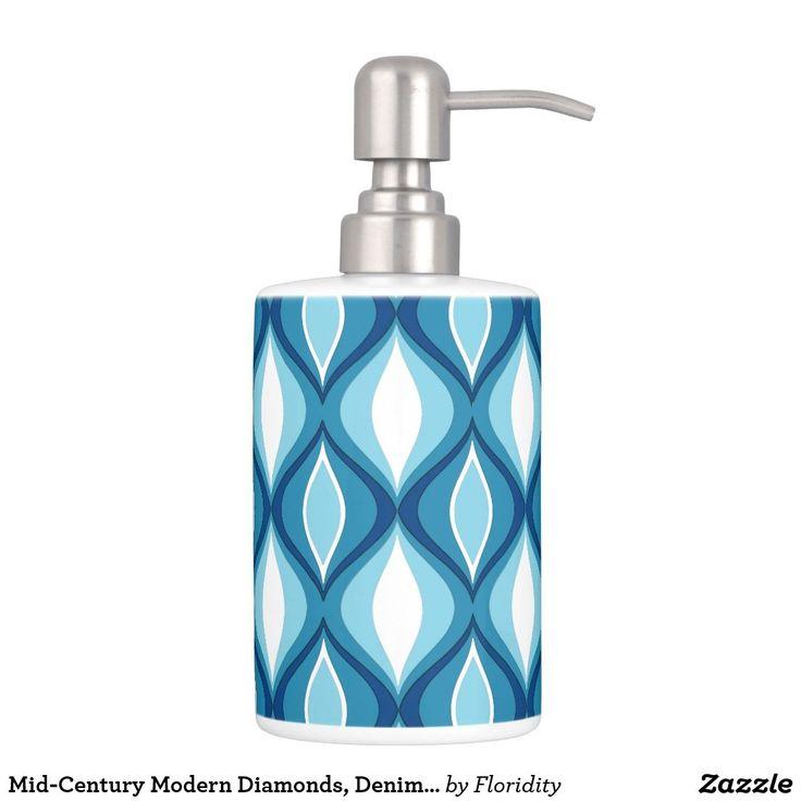 Mid-Century Modern Diamonds, Denim Blues Soap Dispenser And Toothbrush Holder