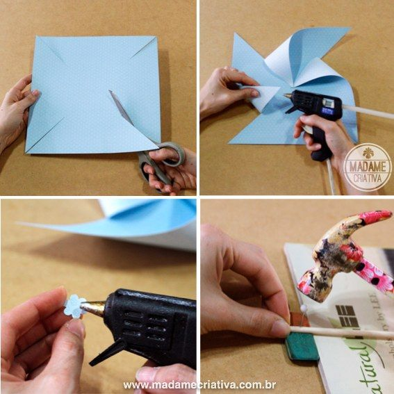 How to make pin-wheels! They really spin! - Como fazer cata-ventos que giram de verdade!