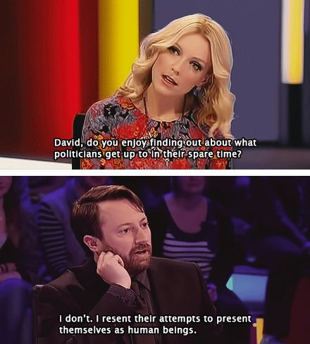 He's politically minded, just like the internet. | Community Post: 26 Reasons David Mitchell Is The Internet's Spirit Animal