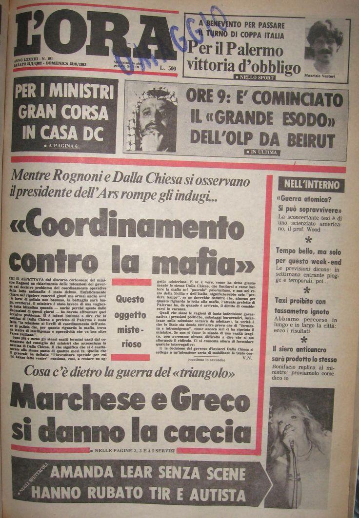 22 agosto 1982, LOra, prima pagina