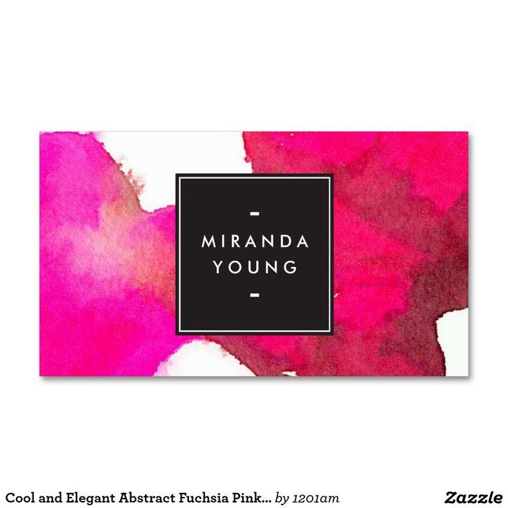 カッコいいおよびエレガントで抽象的な赤紫のピンクの水彩画 スタンダード名刺