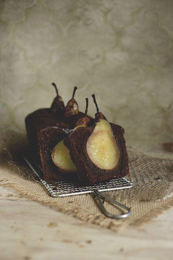 Tipsy Chocolate nut cake with sunken pears and spices: