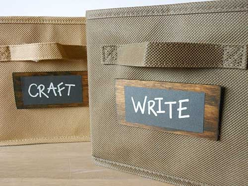 Diy chalkboard labels stains storage bins and cute cards for Diy chalk labels