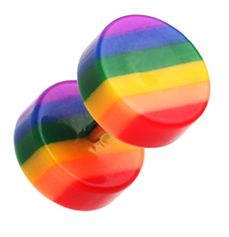 Rainbow Stripe Acrylic Fake Plug