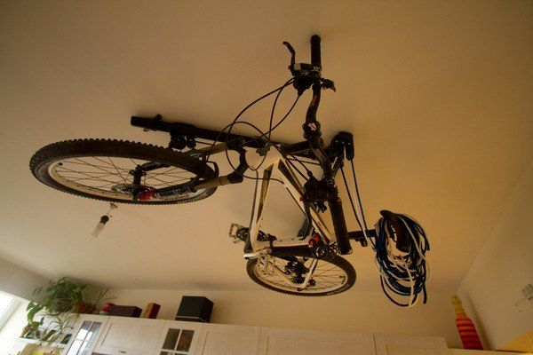 Where Do You Store Your Bike? - http://www.prettydarncool.co.za/cool-wheels/where-do-you-store-your-bike - The ORIGINAL horizontal bike storage hoist Makes use of unused ceiling storage space more efficiently than conventional vertical-lifting bike hoists. Easy-to-use rope locking mechanism. High quality components: 6061 aluminum beams, 5% glass-filled-nylon pulley structures, solid braid ropes,...