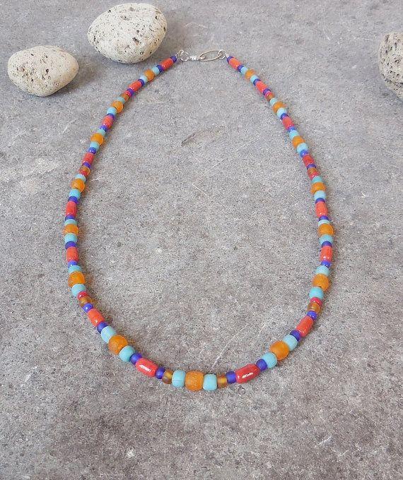 Colorful Necklace with Ethnic Glass Beads, Southwestern Style, Bohemian Jewelry, Boho Beach, Gypsy Surfer Jewelry
