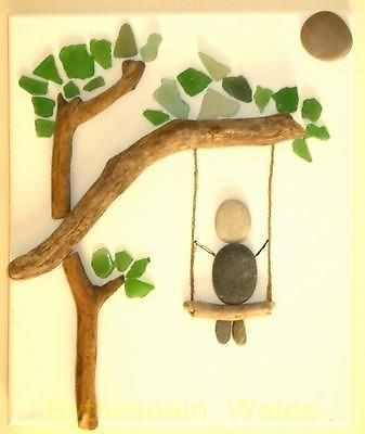 UNIQUE HANDMADE BEACH PEBBLE DRIFTWOOD SEA GLASS CANVAS ART -BIRTHDAY LOVE GIFT