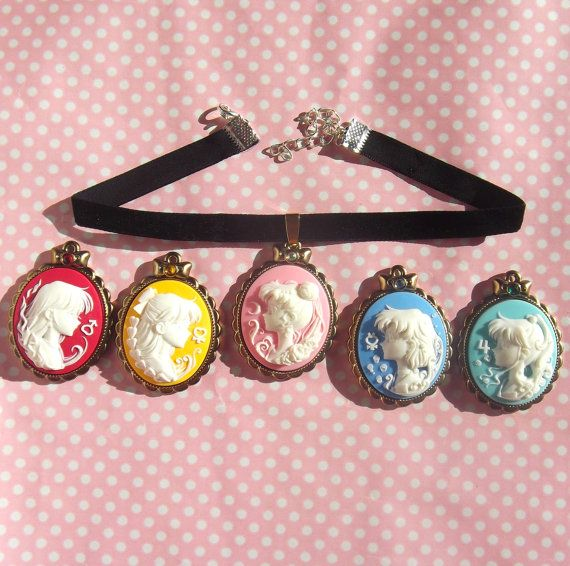 RESTOCKED Pretty Sailor Moon senshi cameo velvet choker in black pink blue purple red
