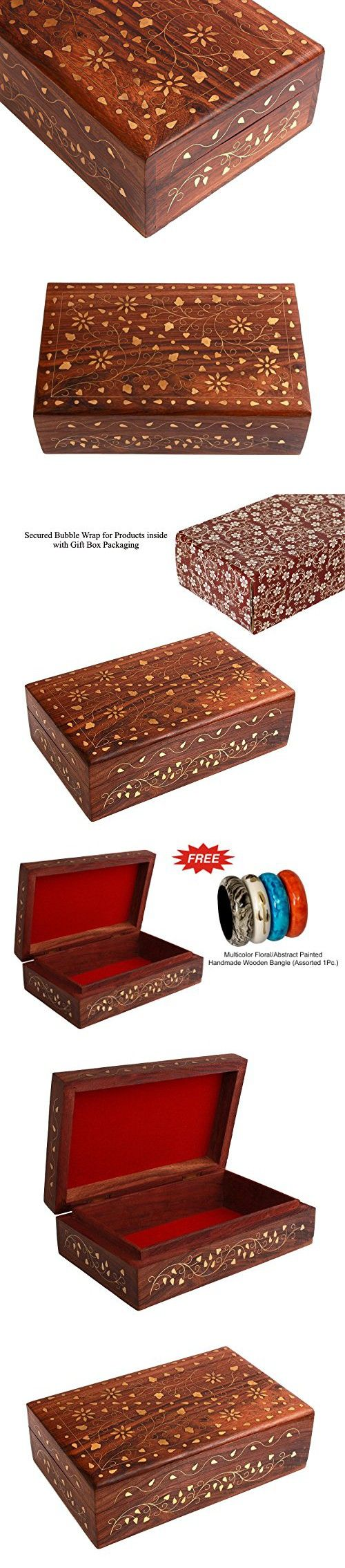 Rakhi Gift for Sister Gorgeous Wooden Jewelry Box Organizer Keepsake Storage Chest - Home Decorative with Brass Inlay