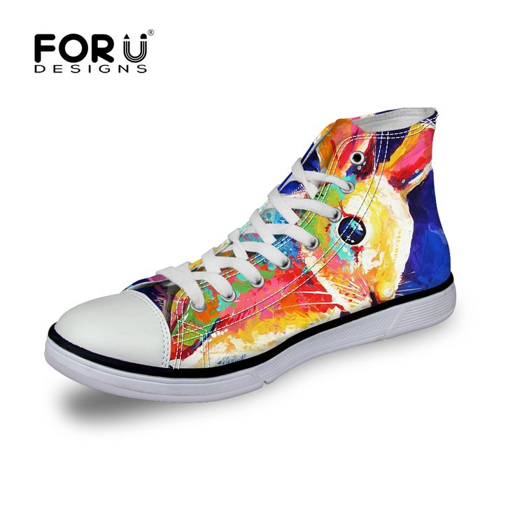 FORUDESIGN Rabbit Printed High Top Women Shoes Retro 3D Painting Animal Casual Flats Shoes Adult Ladies Canvas Mujer Zapatillas #clothing,#shoes,#jewelry,#women,#men,#hats,#watches,#belts,#fashion,#style