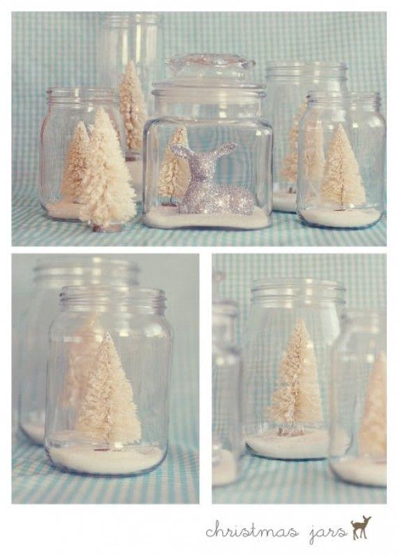 17 Unique Christmas mason jar ideas! Love the winter wonderland in a jar ones