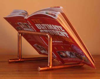 Soporte de tubo de cobre cook libro receta libro titular / accesorios de cocina / sostenedor del libro