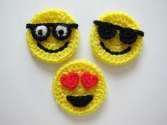 1pc 3 Crochet  EMOJI Applique by PinkMeStudio on Etsy