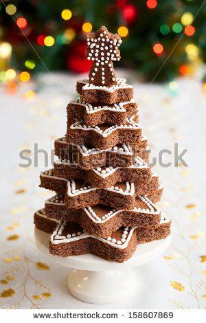 Chocolate Christmas tree on the festive table - stock photo