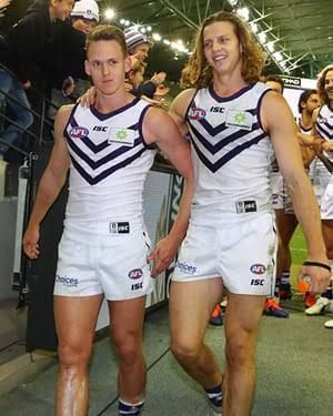 Fyfe with Nyhuis; Dockers AFL