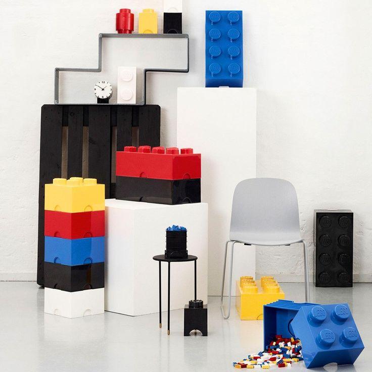 Lego Storage Brick - Black - 2 Sizes Available - storage box