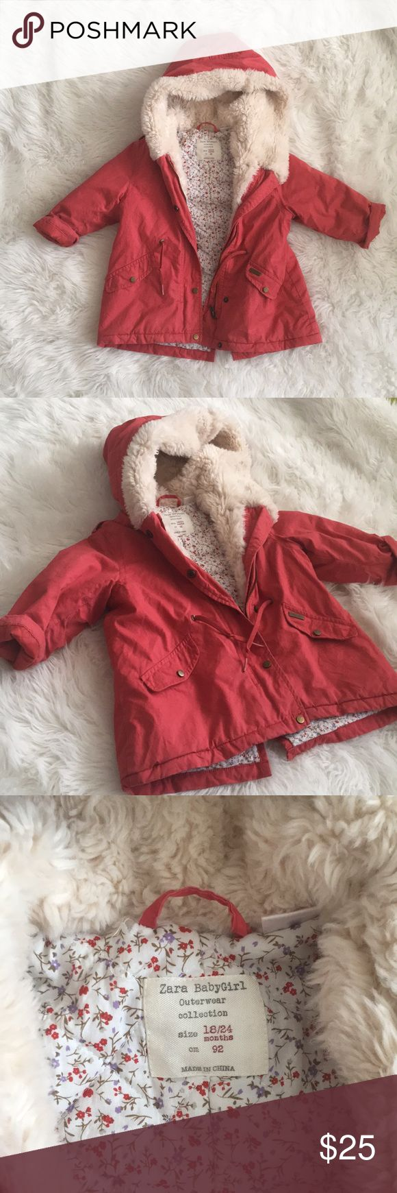 Zara Winter Coat - Toddler Zara BabyGirl Outerwear Collection - size 18/24mths in great condition!! This adorable girls coat is red with faux fur (white) / floral lining details. Zara Jackets & Coats Pea Coats
