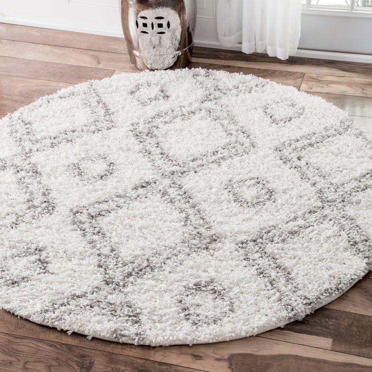 nuLOOM Alexa My Soft and Plush White Moroccan Diamond Round Shag Rug (5'3 Round) (White), Size 5' x 5' (Plastic, Geometric)