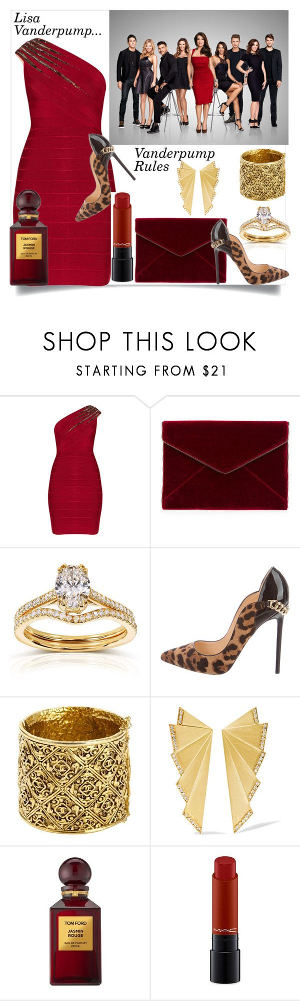 """Lisa Vanderpump: Vanderpump Rules"" by helenaymangual ❤ liked on Polyvore featuring Hervé Léger, Rebecca Minkoff, Annello, Christian Louboutin, Chanel, Ileana Makri, Tom Ford and MAC Cosmetics"