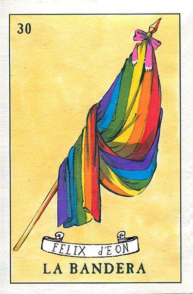 La Bandera Felix dEon Print Gay Mexico Queer Loteria Rainbow Flag LGBT Pride Mexican Art