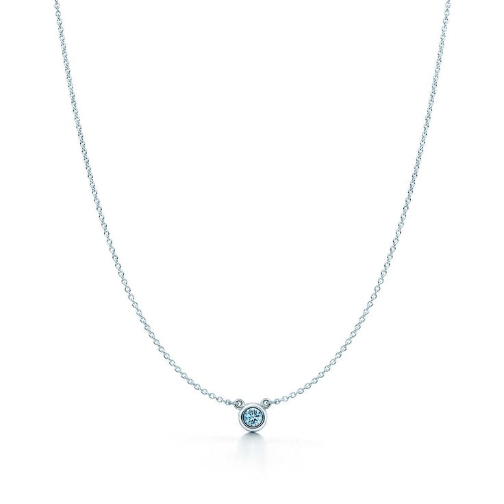 Elsa Peretti® Color by the Yard pendant in sterling silver with an aquamarine. | Tiffany & Co.