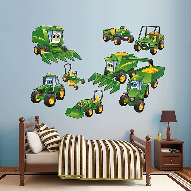 John Deere Johnny Tractor Farming Collection | REAL.BIG. Fathead – Peel & Stick Wall Graphic | John Deere Wall Decal | Kids Decor | Bedroom/Playroom/Nursery