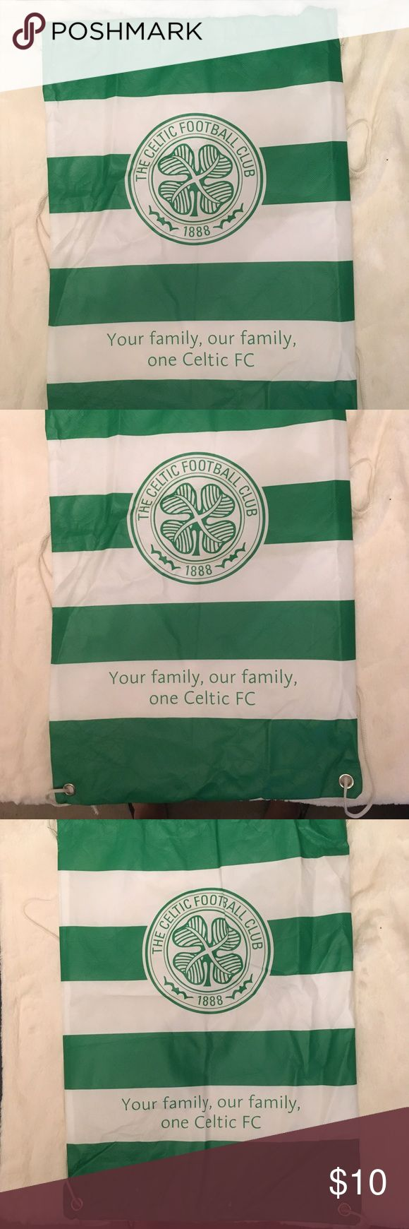 Celtic Football Club Drawstring Backpack Celtic Football Club Drawstring Backpack. Small surface scratch noted in last pic. Overall in great condition. Bags