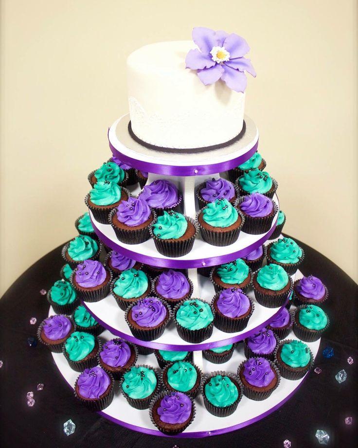 Purple & Teal Wedding Cake