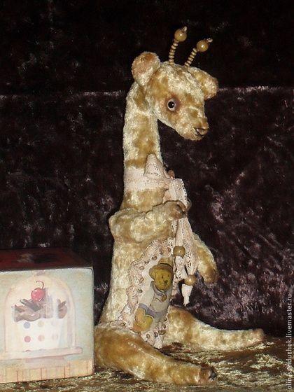 Жирафик-тедди Миша.31 см. - бежевый,плюшевая игрушка,плюш для тедди,деревянные бусины