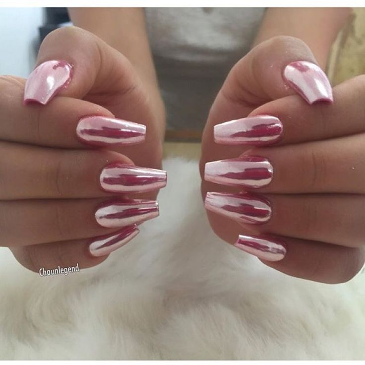 Pink Chrome Coffin Nails