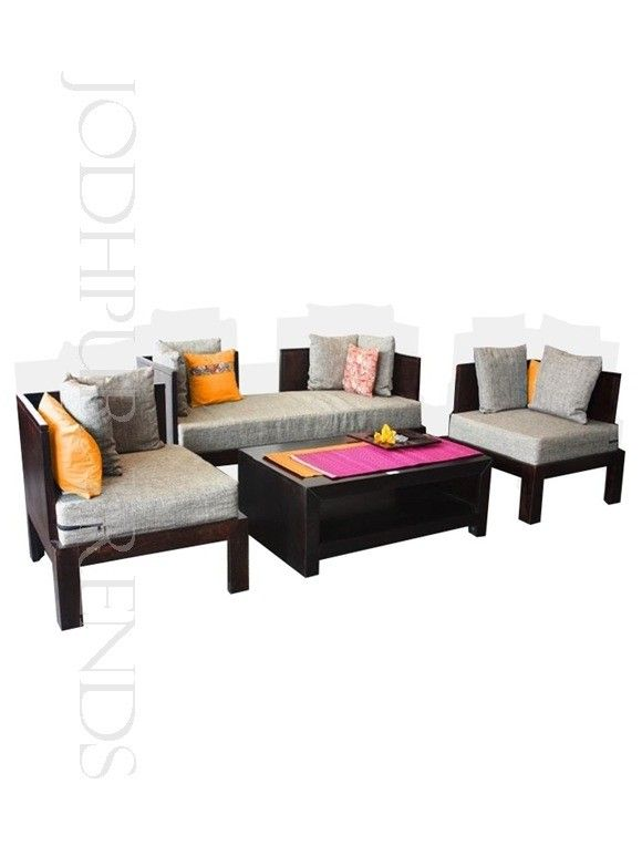 jodhpur-sofa-set This simple yet modish looking sofa set is an apt piece of furniture for any contemporary home. It comes with a double seater sofa and 2 single seater sofas with a center table,