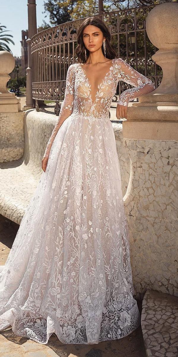 36 splendidi abiti da sposa linea A linea abiti da sposa linea scollo a V profondo con …