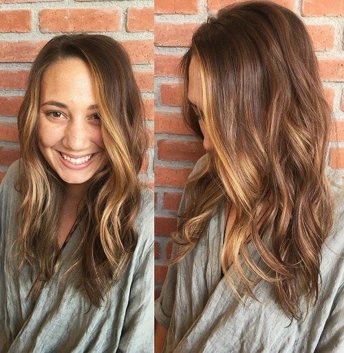 Layered+Brown+Hair+With+Face-Framing+Highlights