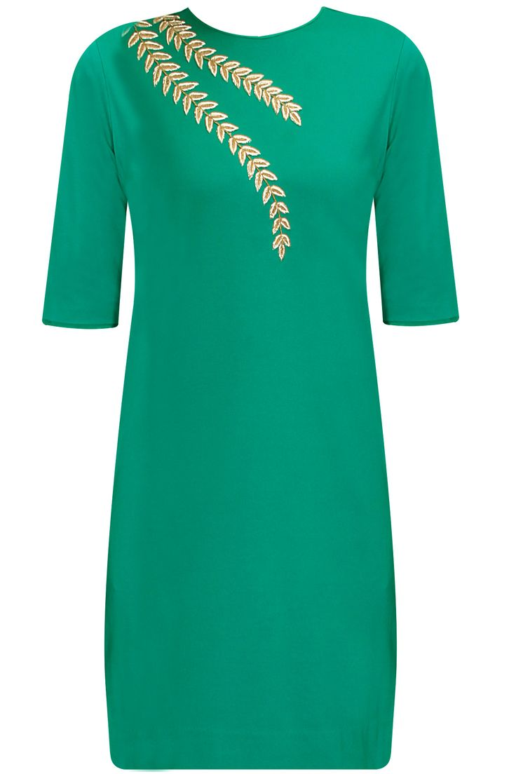 Green and gold zardozi embroidered dress available only at Pernia's Pop Up Shop.