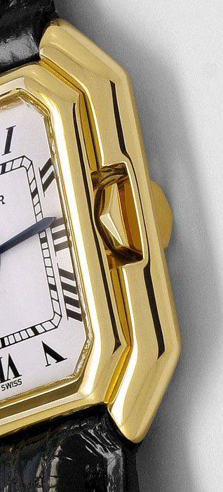 Foto 4, Cartier Ceinture 18K Gelbgold Krokodil-Armband Damenuhr, U2110