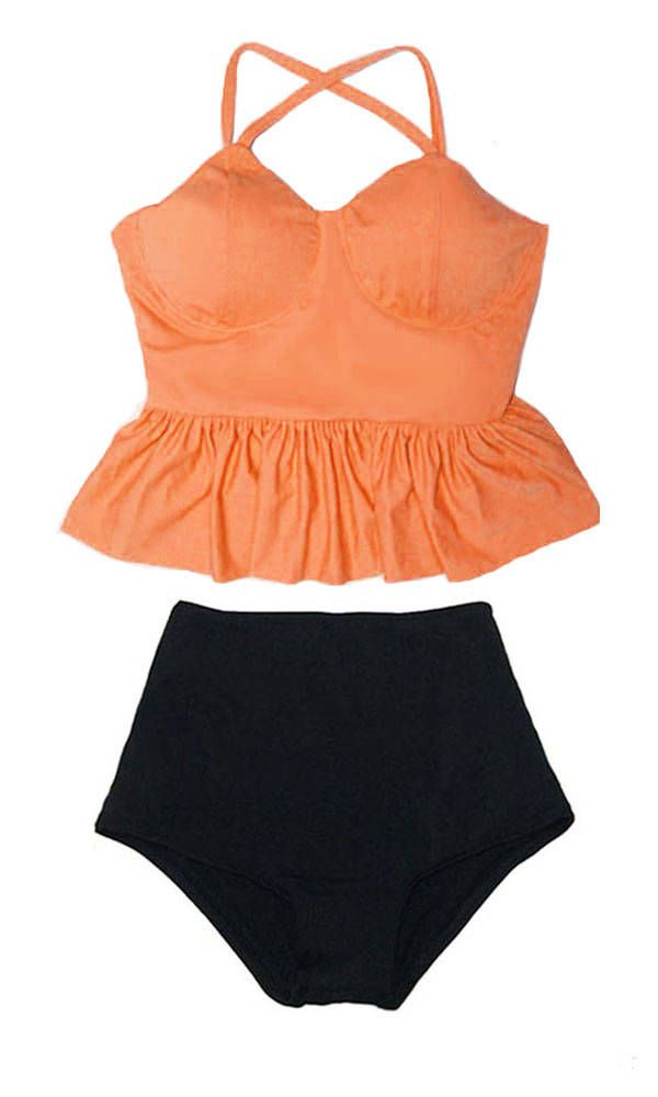 dfc4ed8c6 Old rose Peplum Strap Top and Black High waist waisted Shorts Bottom  Swimsuit Swimmer Bikini set Bathing suit Swim Beach wear outfit S M L XL by  venderstore ...