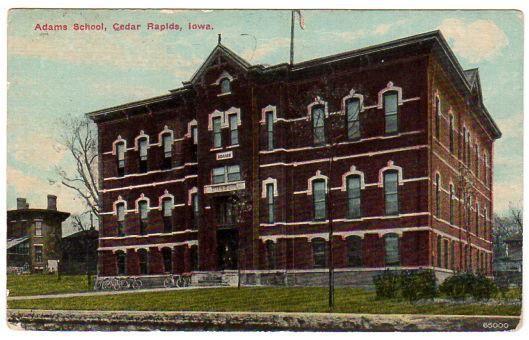 Vintage Cedar Rapids Iowa Postcard 1910s Adams School Souvenir
