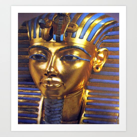 """From the series """"The Discovery of the Tomb of Tutankhamun"""" (c 1361 – 1352 BC)   Tutankhamun was an Egyptian pharaoh of the 18th dynasty, during the period of Egyptian history known as the New Kingdom. He is colloquially referred to as King Tut.   Gold, Mask, Tutankhamun, Medieval, Ancient, History, Byzantine, Rare, Digital Reproduction"""