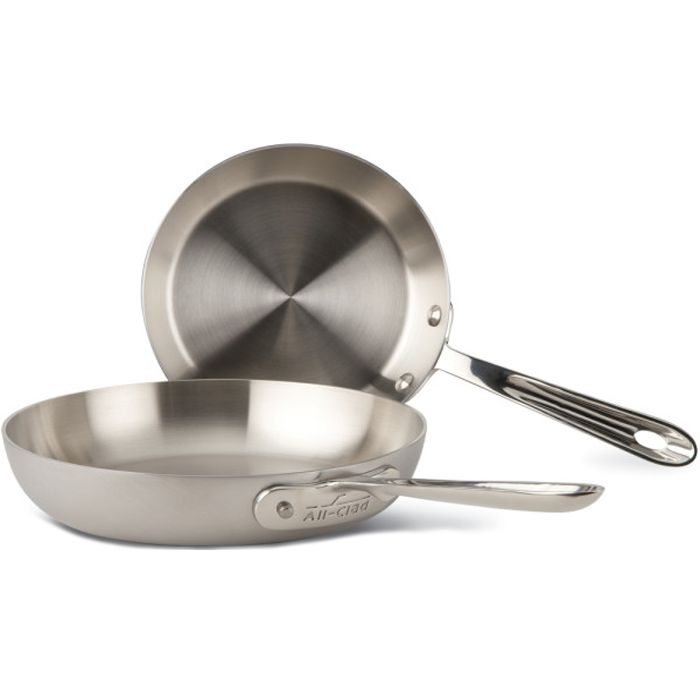 """All-Clad, BD5510609, d5 Stainless Brushed, d5 Stainless Brushed French Skillets Set (7.5 & 9""""), 5-Ply Bonded Construction"""