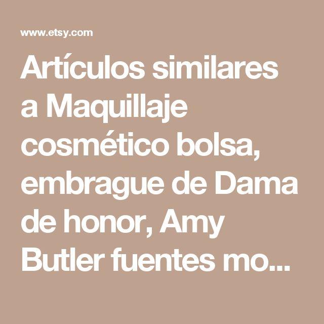 Artículos similares a Maquillaje cosmético bolsa, embrague de Dama de honor, Amy Butler fuentes mostaza - tamaño mediano en Etsy