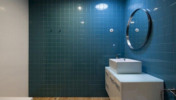 Bathroom Awesome Bathroom Tile Design Ideas With Round Mirror Lamp Blue Wall Tile And White Sink Storage Bath Tub Also Wooden Flooring Wonderful Modern Bathroom Tile Ideas That You Feel In Private Heaven