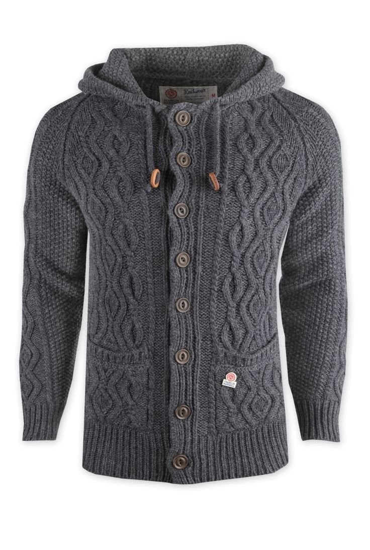 Mens chunky Knitwear how can you go wrong    Franklin and Marshall Knitted Jacket - Grey