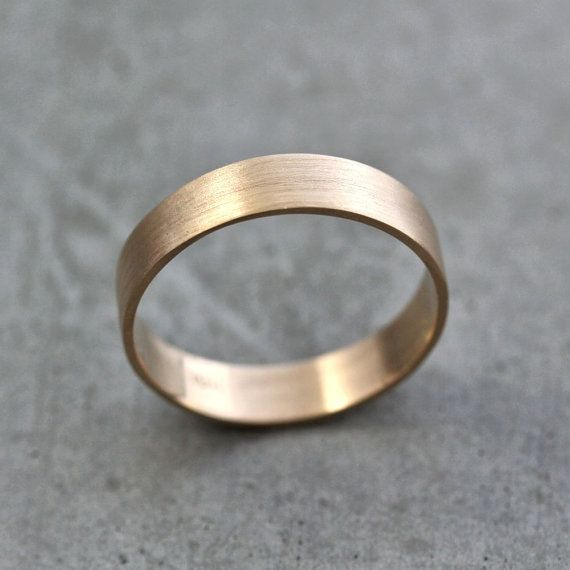 Men's Gold Wedding Band Unisex 5mm Wide Brushed Flat by TheSlyFox, $390.00